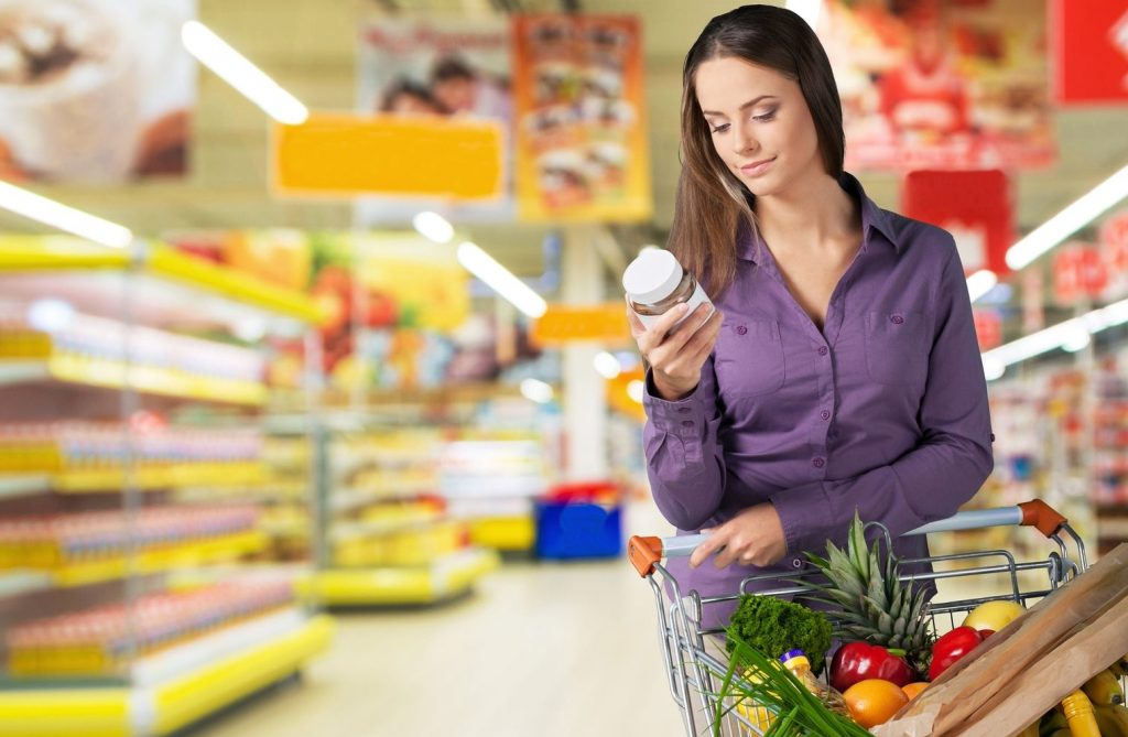 Supermarket Shopping Groceries Nutrition Label Women Label Healthy Eating