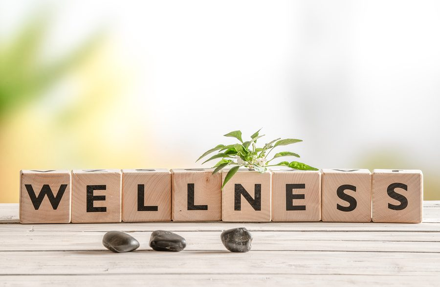 Wellness sign with wooden cubes and flowers and stones